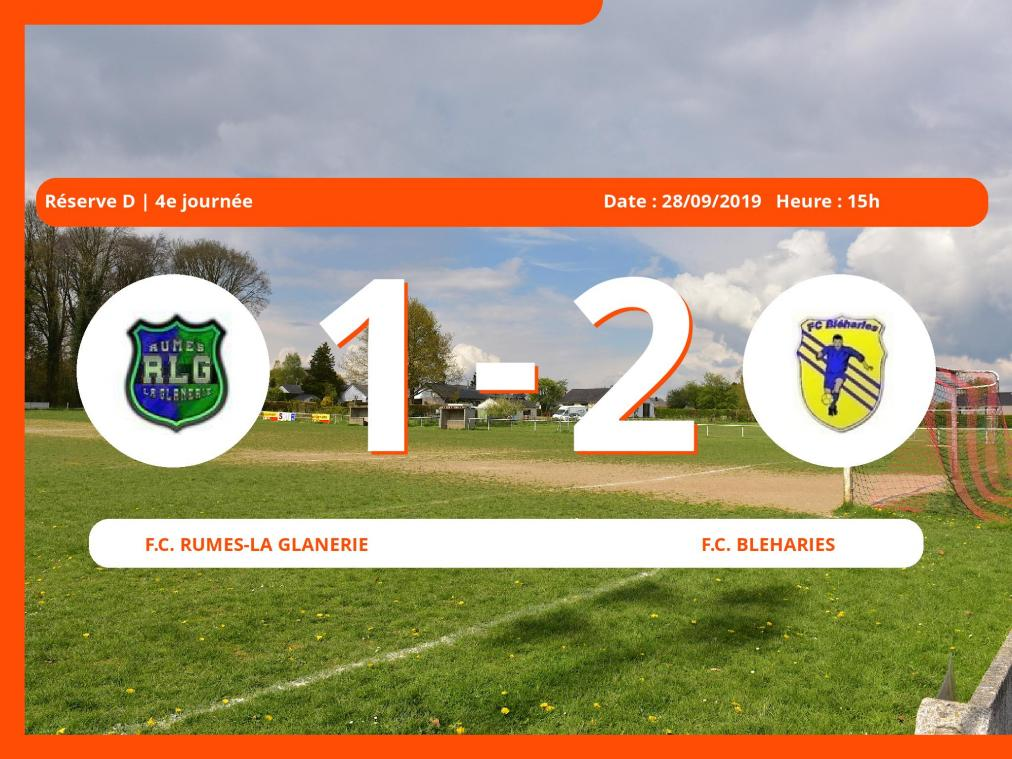 1er tour de Réserve D (Hainaut): Succès 1-2 du Football Club Bleharies face au Football Club Rumes-la Glanerie