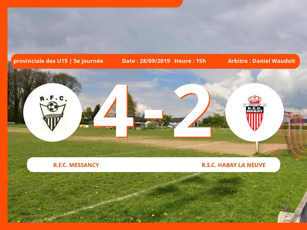 Match de provinciale des U15 (Luxembourg): Succès 4-2 du Royal Football Club Messancy face au Royal Sporting Club de Neffe