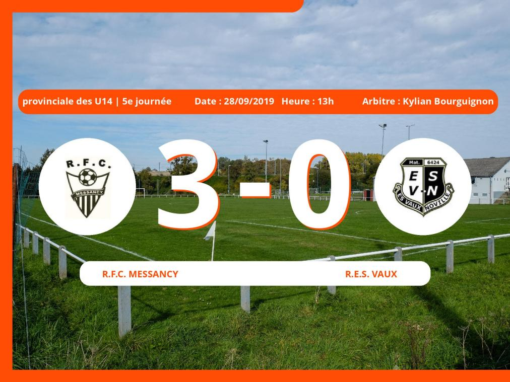 Match de provinciale des U14 (Luxembourg): Succès 3-0 du Royal Football Club Messancy face au R.E.S. Vaux