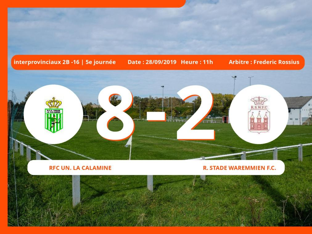 Match des moins de 16 ans interprovinciaux Division 2B (Nationale): Succès 8-2 de Rfc Un. La Calamine face au Royal Stade Waremmien Football Club