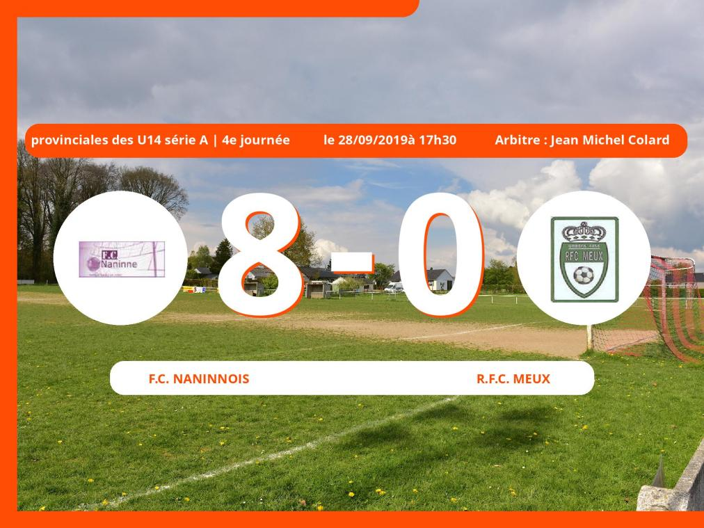 Match de provinciales des U14 série A (Namur): Succès 8-0 du Football Club Naninnois face au Royal Football Club Meux