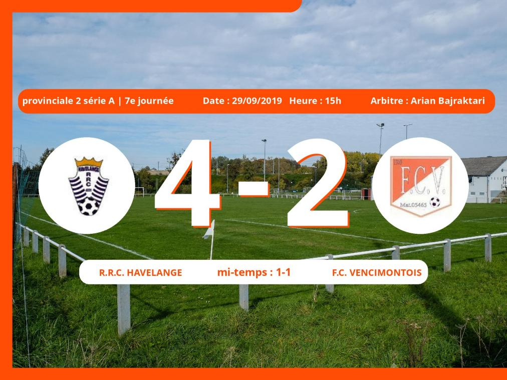 Match de provinciale 2 série A (Namur): Succès 4-2 du Royal Racing Club Hamoir face au Football Club Vencimontois