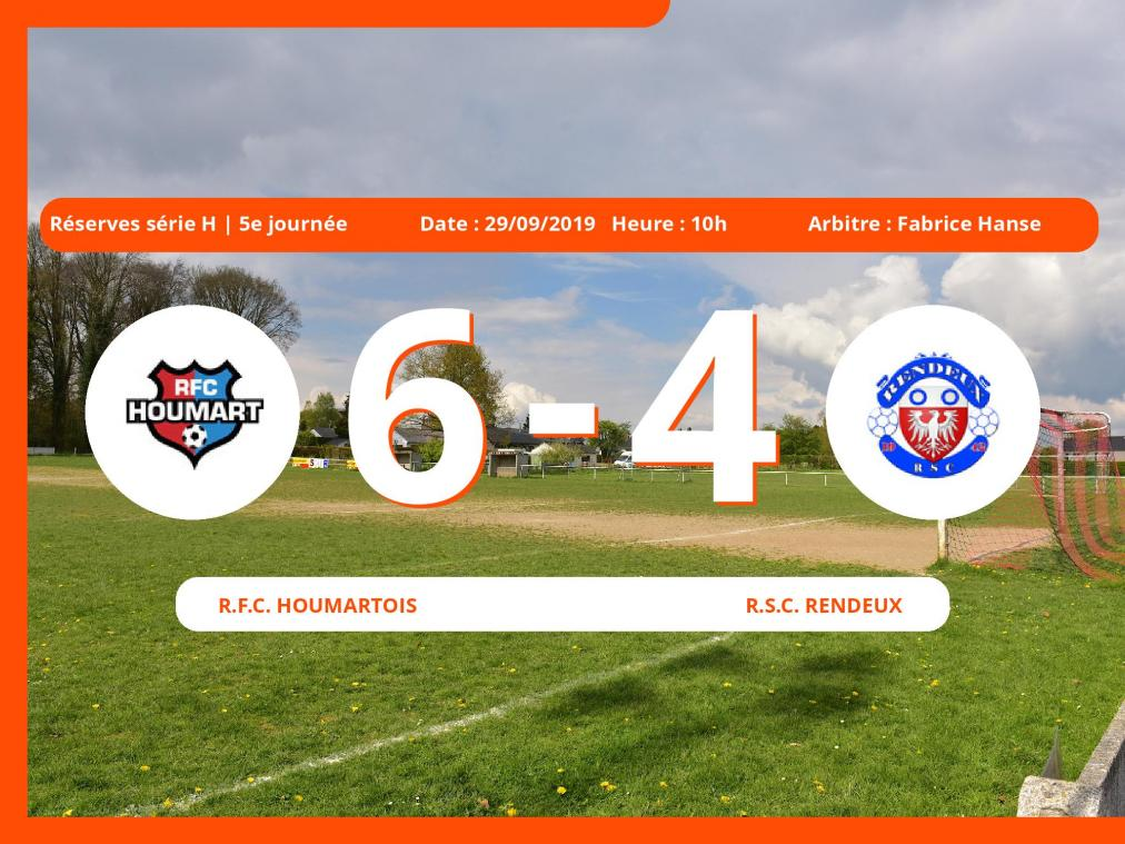 Match des Réserves série H (Luxembourg): Succès 6-4 du Royal Football Club Houmartois face au Royal Sporting Club Rachecourt