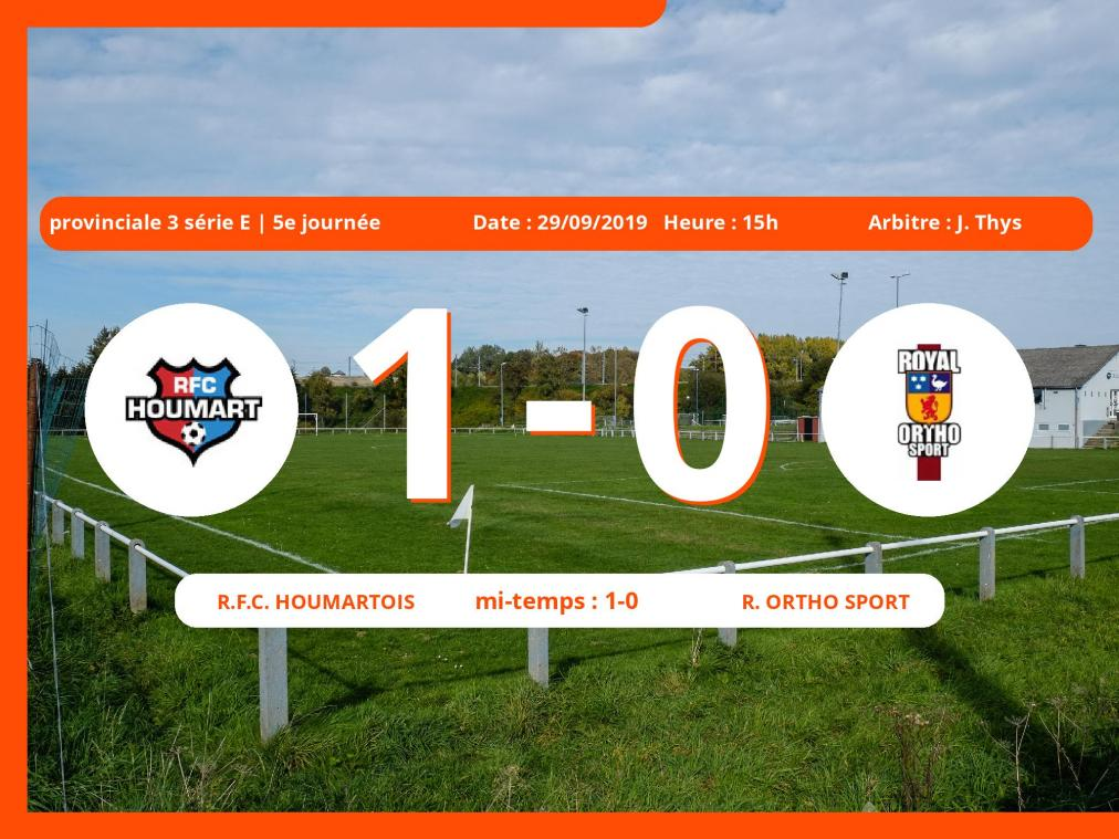 Match de provinciale 3 série E (Luxembourg): Succès 1-0 du Royal Football Club Houmartois face au Royal Ortho Sport
