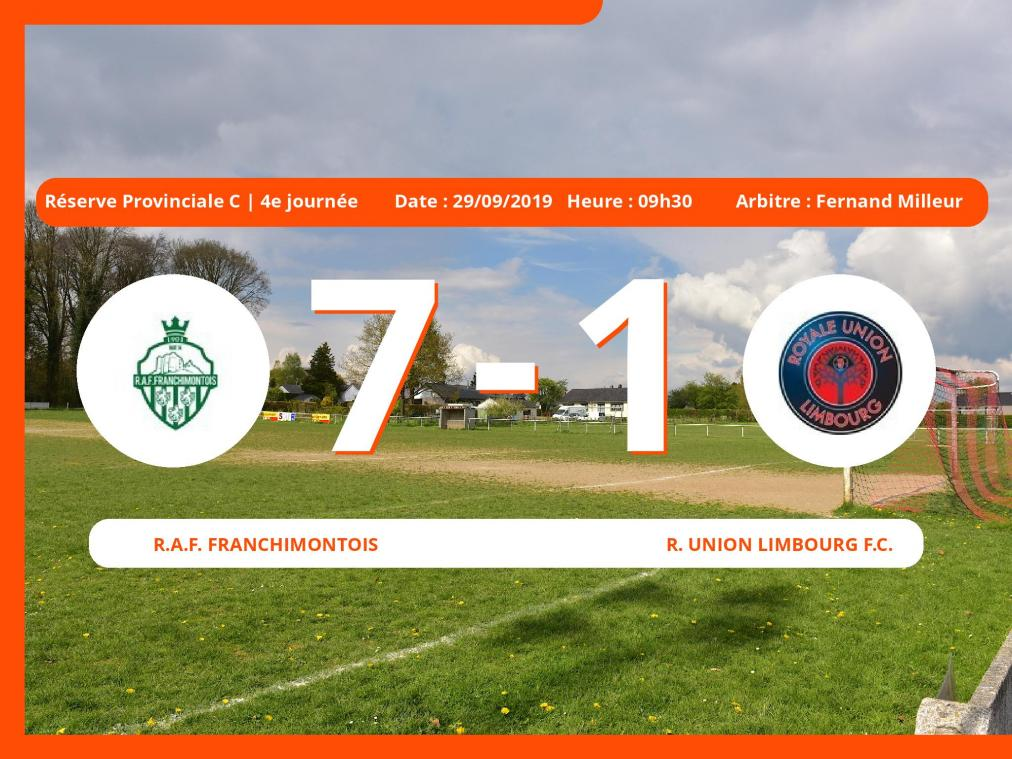 Match de Réserve Provinciale C (Liège): Succès 7-1 du Royal Association Football Franchimontois face au Royal Union Limbourg Football Club
