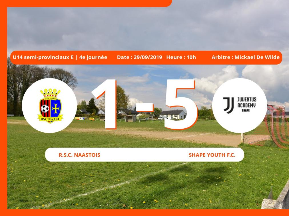 1er tour des U14 semi-provinciaux E (Hainaut): Succès 1-5 du Shape Youth Football Club face au Royal Sporting Club Muno