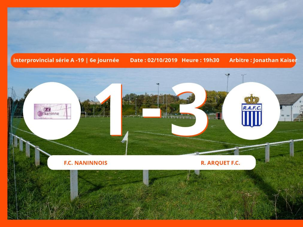 Match interprovincial ACFF de série A des moins de 19 ans (Nationale): Succès 1-3 du Royal Arquet Football Club face au Football Club Naninnois