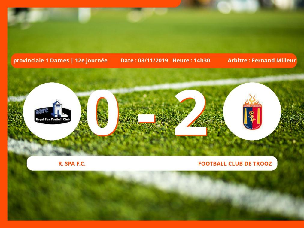 Provinciale 1 Dames (Liege): succès 0-2 du Football Club de Trooz face au Royal Spa Football Club