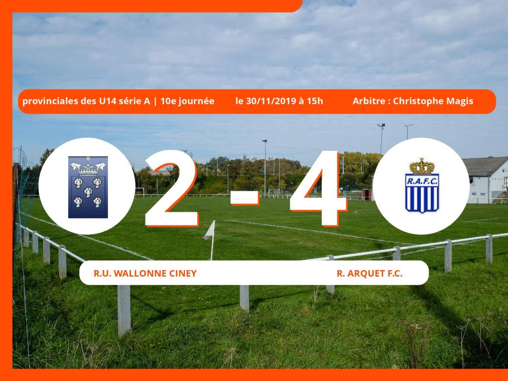 Provinciales des U14 série A (Namur): succès 2-4 du Royal Arquet Football Club face à la R.U. Wallonne Ciney