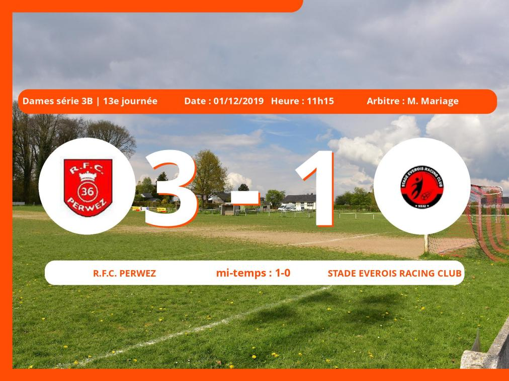 Dames série 3B (Brabant ACFF/Bruxelles): succès 3-1 du Royal Football Club Perwez face au Stade Everois Racing Club