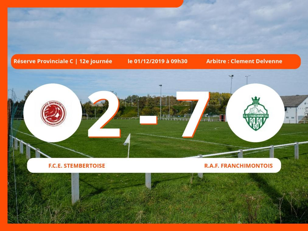Réserve Provinciale C (Liège): succès 2-7 du Royal Association Football Franchimontois face au Football Club Ent. Stembertoise