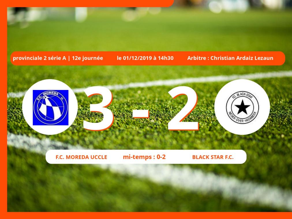 Provinciale 2 série A (Brabant ACFF/Bruxelles): succès 3-2 du Football Club Moreda Uccle face au Black Star Football Club