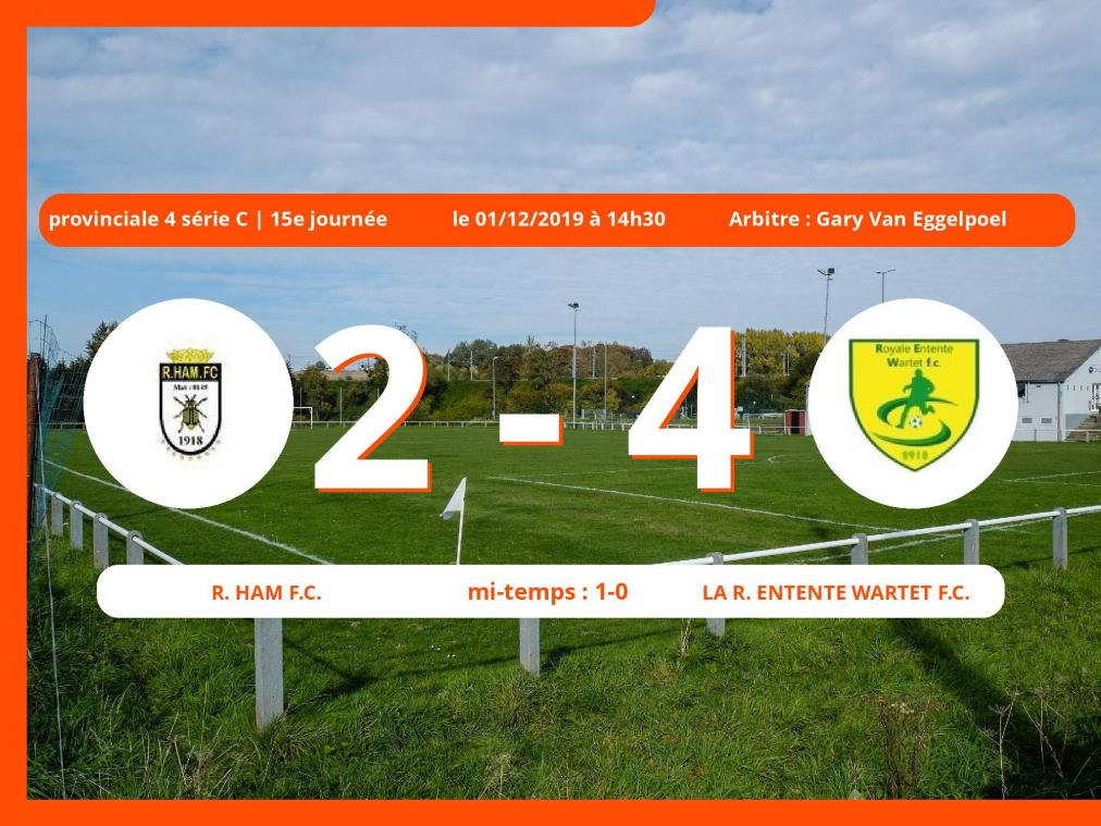 Provinciale 4 série C (Namur): succès 2-4 de la Royale Entente Wartet Football Club face au Royal Ham Football Club