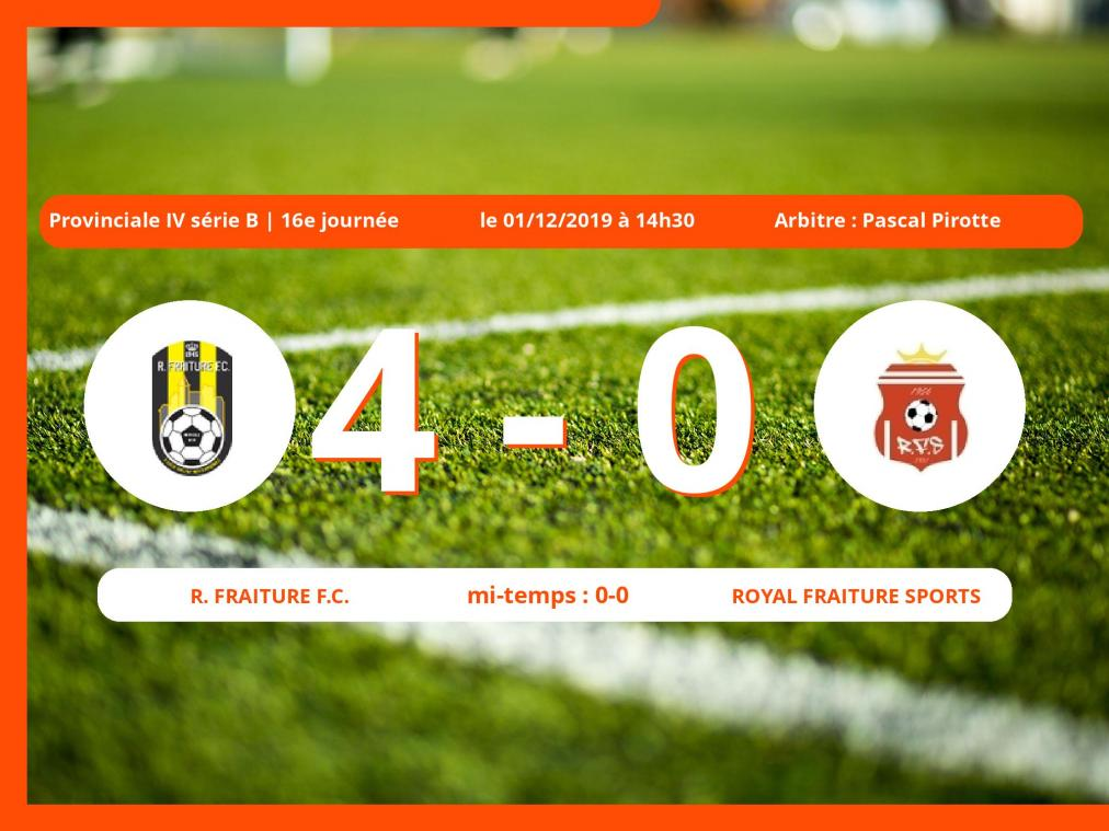 Provinciale IV série B (Liège): succès 4-0 du Royal Fraiture Football Club face au Royal Fraiture Sports