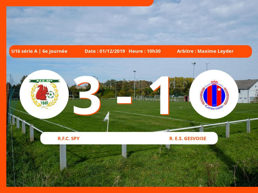 U16 série A (Namur): succès 3-1 du Royal Football Club Spy face au Royal E.S. Gesvoise
