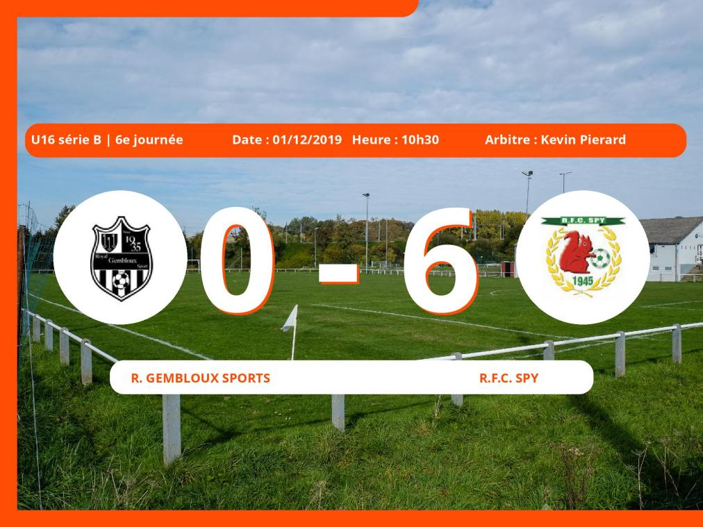 U16 série B (Namur): succès 0-6 du Royal Football Club Spy face au Royal Gembloux Sports
