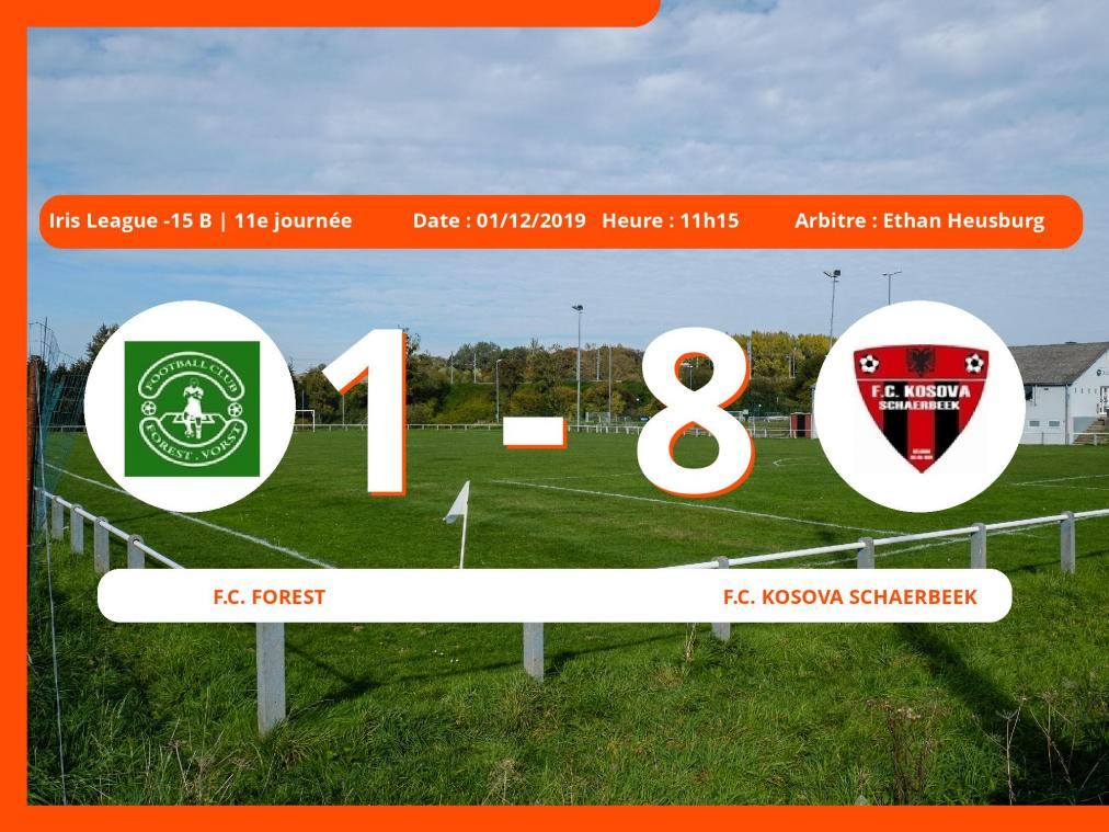 Iris League -15 B (Brabant ACFF/Bruxelles): succès 1-8 du Football Club Kosova Schaerbeek face au Football Club Forest