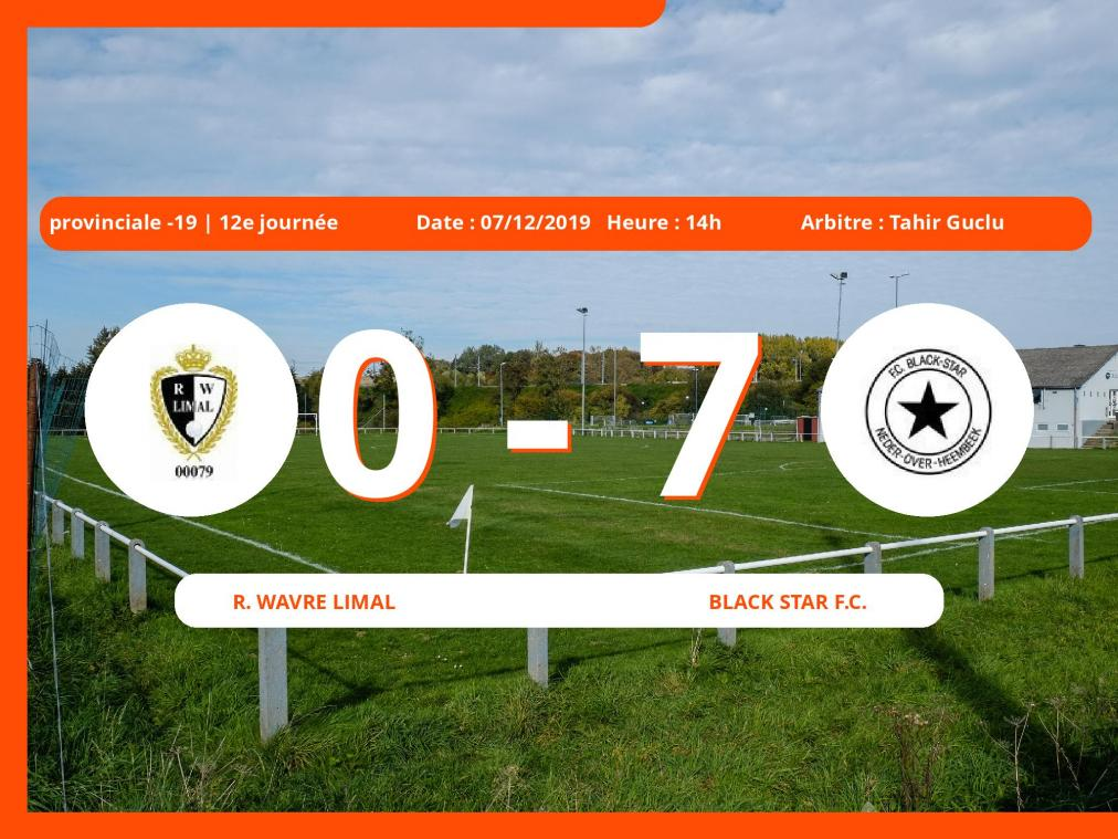 Provinciale -19 (Brabant ACFF/Bruxelles) : succès 0-7 du Black Star Football Club face au Royal Wavre-Limal