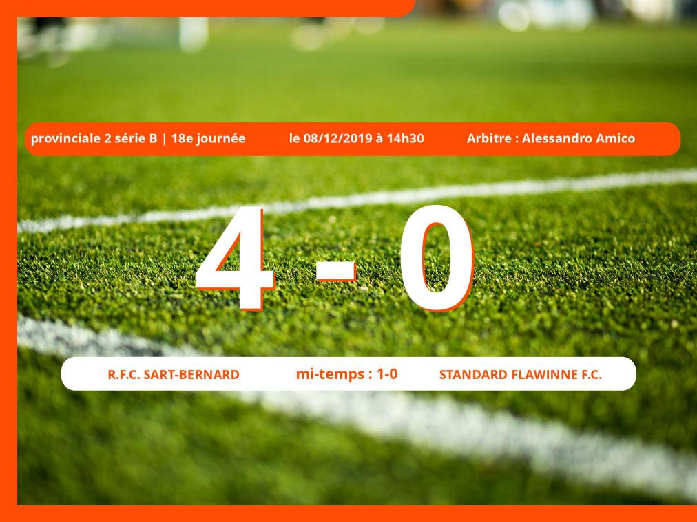 Provinciale 2 série B (Namur) : succès 4-0 du Royal Football Club Sart-Bernard face au Standard Flawinne Football Club
