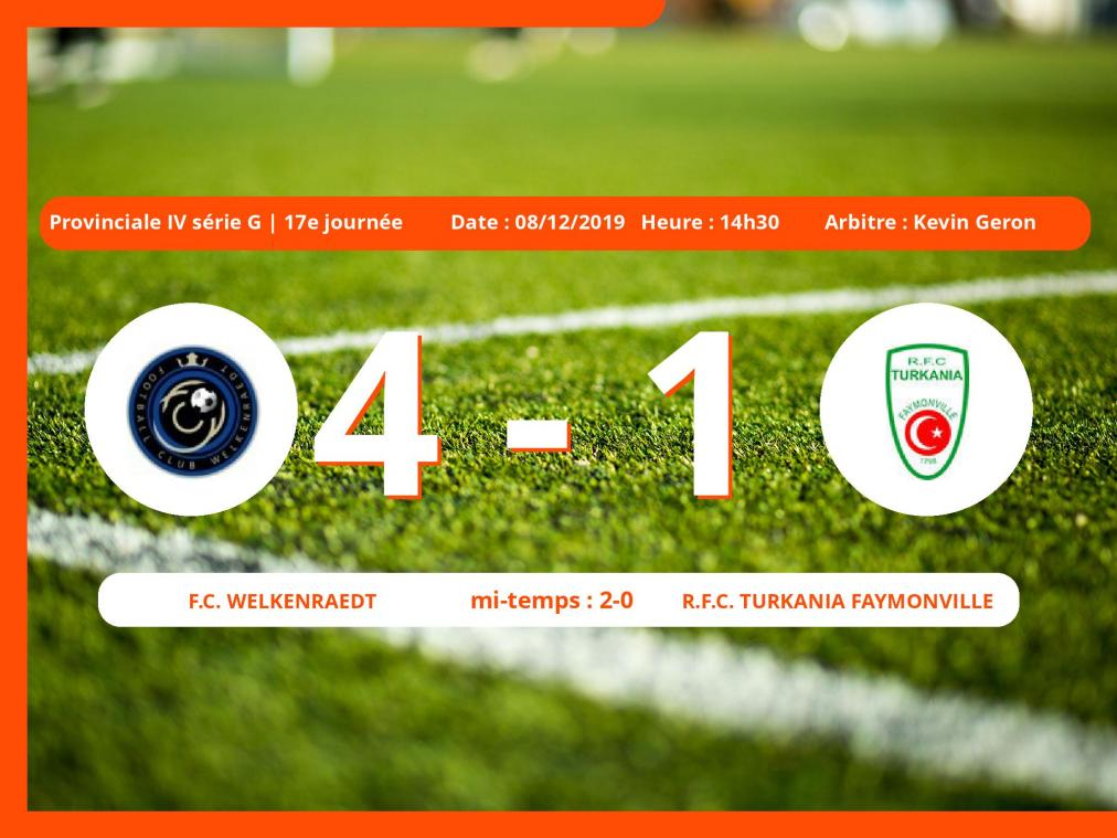 Provinciale IV série G (Liège) : succès 4-1 du Football Club Welkenraedt face au Royal Football Club Turkania Faymonville