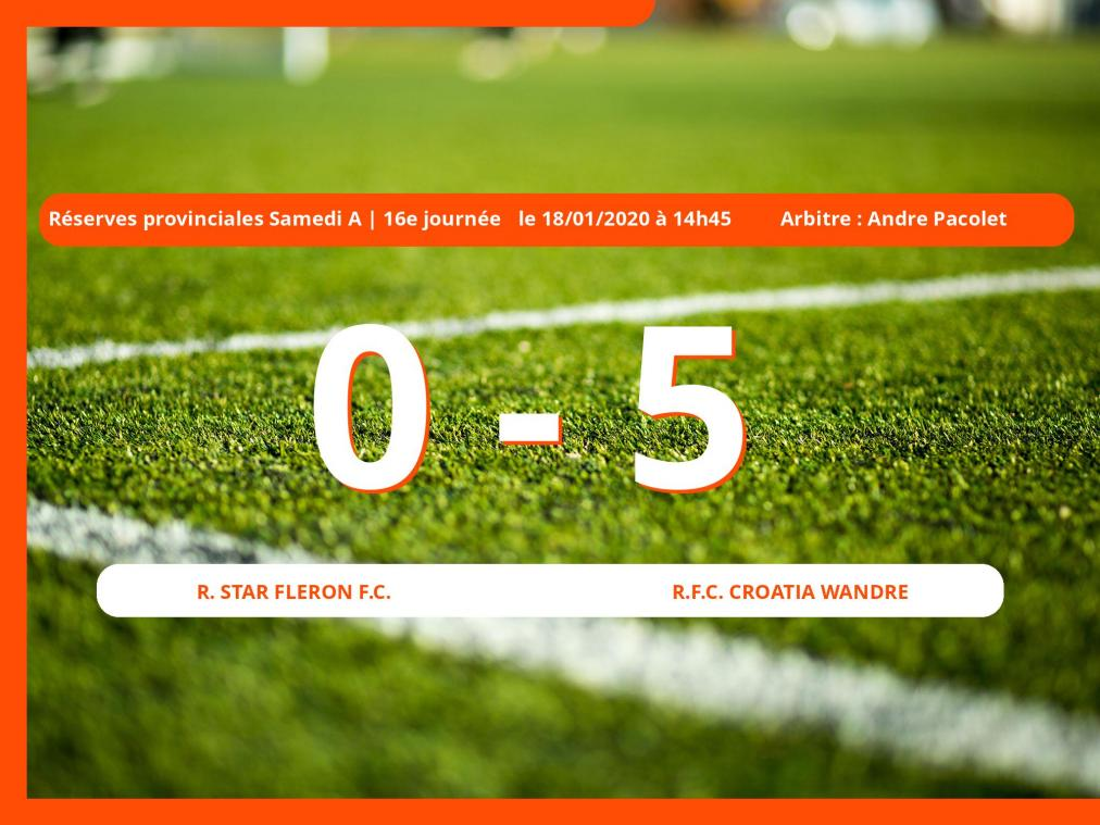 Réserves provinciales Samedi A (Liège) : succès 0-5 du Royal Football Club Croatia Wandre face à la Royal Star Fleron Football Club
