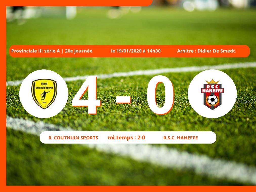 Provinciale III série A (Liège) : succès 4-0 du Royal Couthuin Sports face au Royal Sporting Club Haneffe