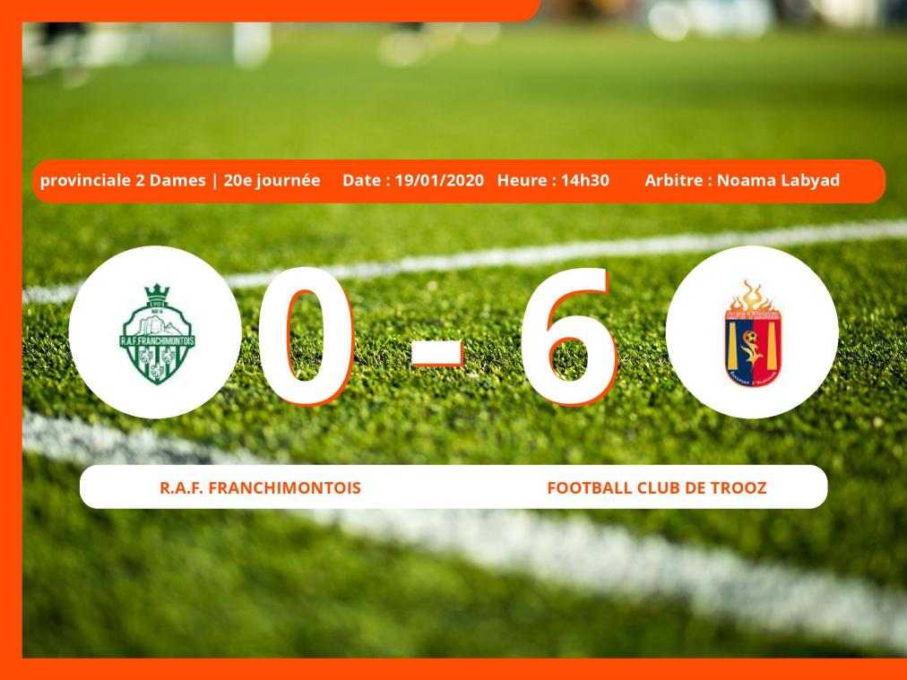 Provinciale 1 Dames (Liege) : succès 0-6 du Football Club de Trooz face au Royal Association Football Franchimontois