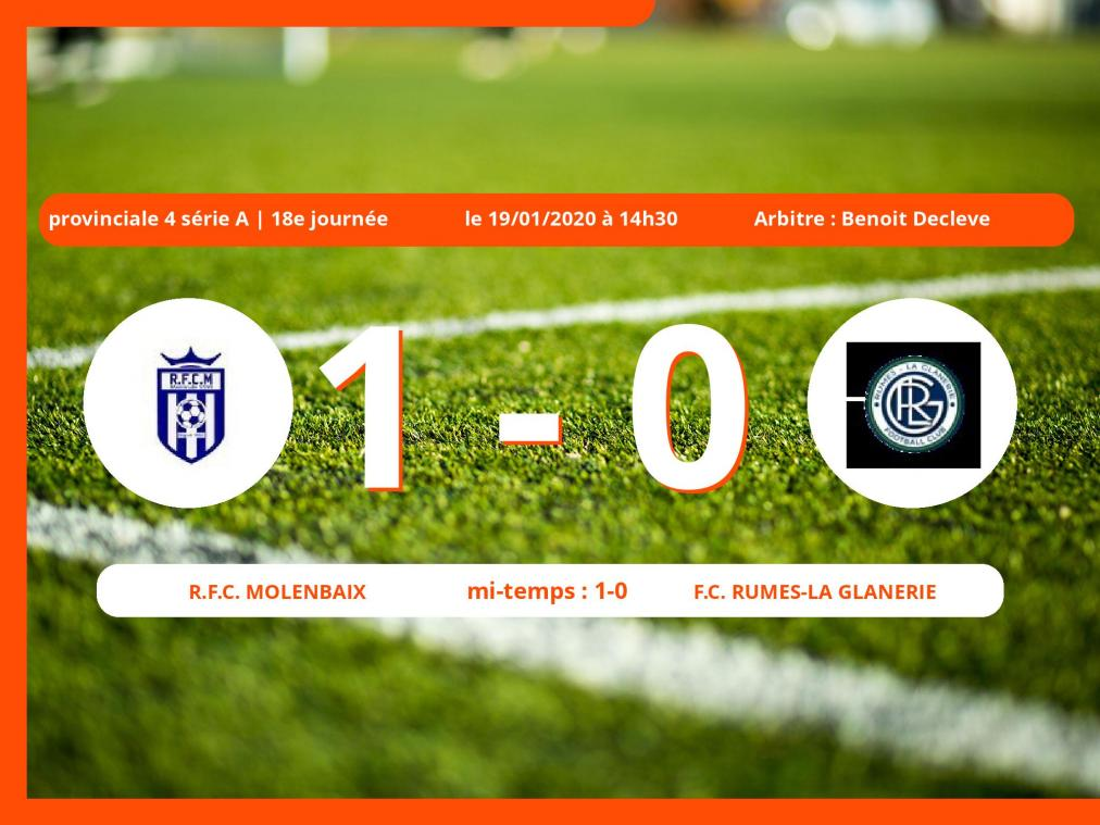 Provinciale 4 série A (Hainaut) : succès 1-0 du Royal Football Club Molenbaix face au Football Club Rumes-la Glanerie