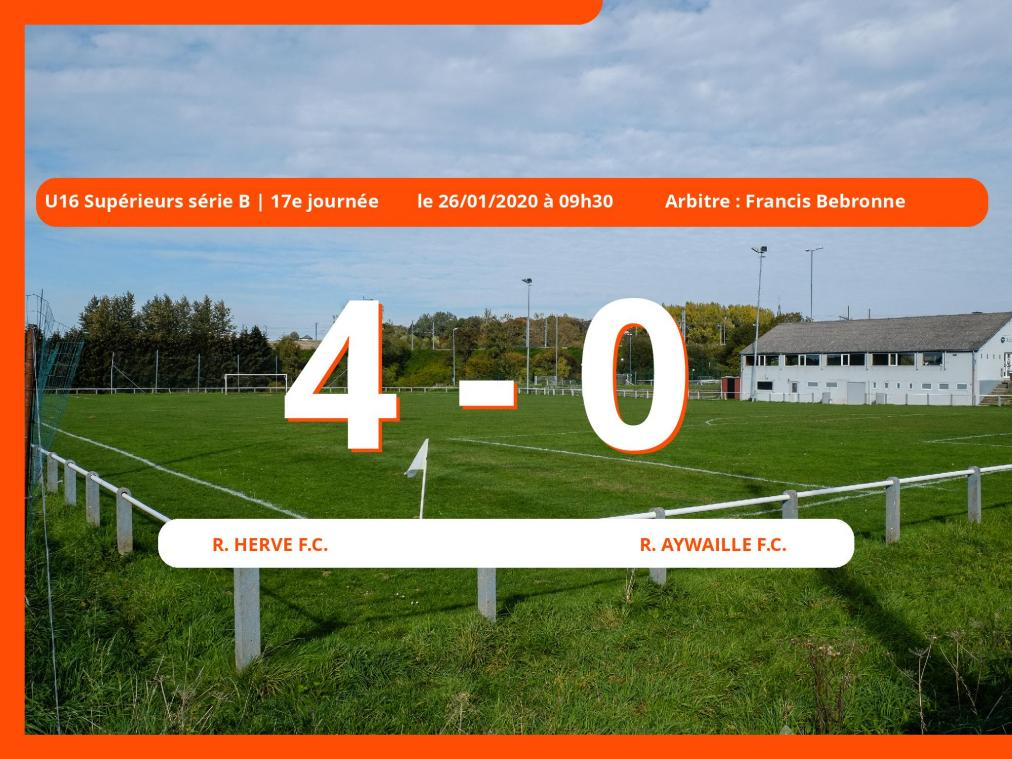 U16 Supérieurs série B (Liege) : succès 4-0 du Royal Herve Football Club face au Royal Aywaille Football Club
