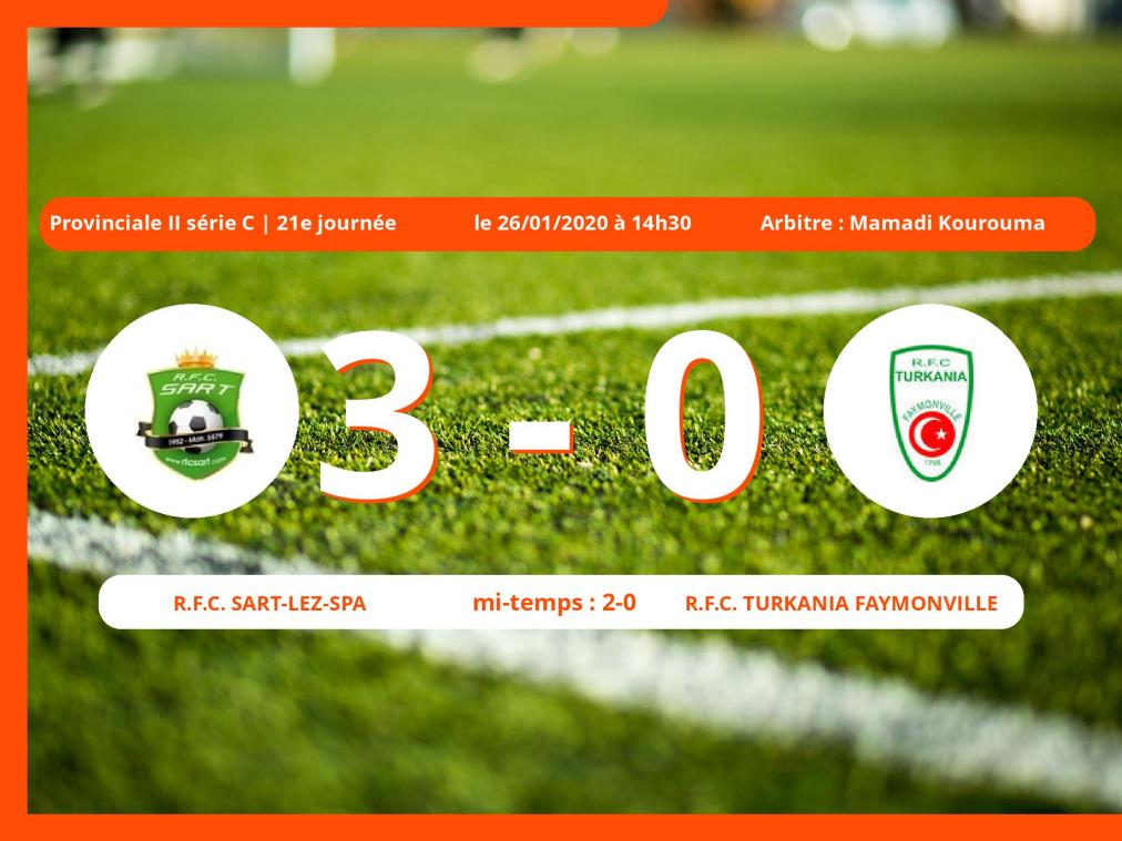 Provinciale II série C (Liège) : succès 3-0 du Royal Football Club Sart-lez-Spa face au Royal Football Club Turkania Faymonville