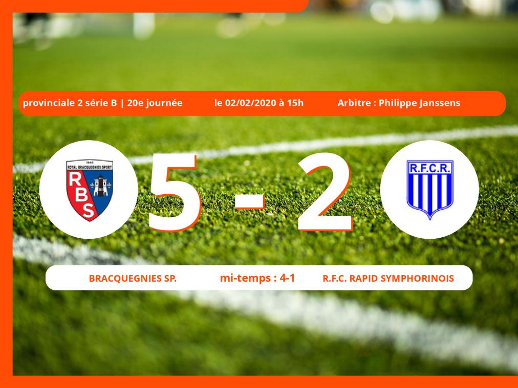 Provinciale 2 série B (Hainaut) : succès 5-2 du Bracquegnies Sp. face au Royal Football Club Rapid Symphorinois