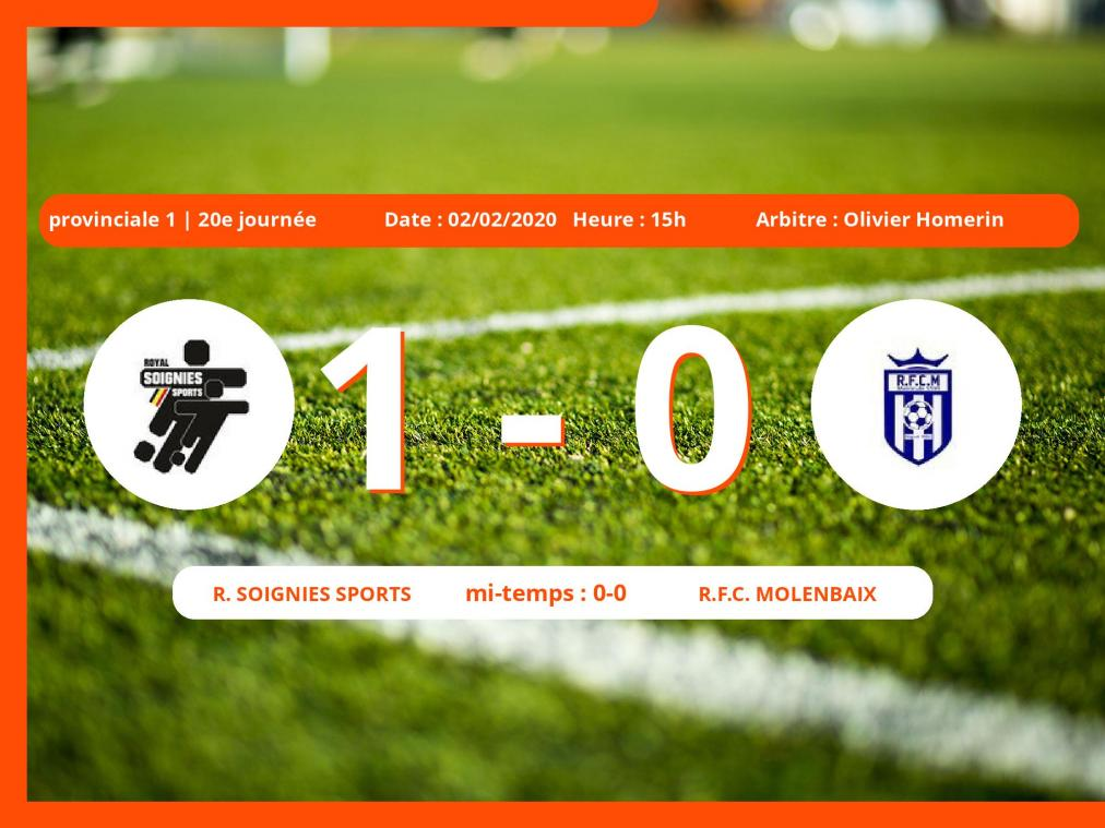 Provinciale 1 (Hainaut) : succès 1-0 du Royal Soignies Sports face au Royal Football Club Molenbaix