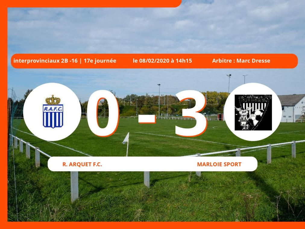 Interprovinciaux 2B -16 (Nationale) : succès 0-3 du Marloie Sport face au Royal Arquet Football Club