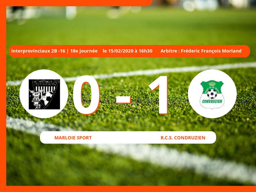 Interprovinciaux 2B -16 (Nationale) : succès 0-1 du Royal Club Sportif Condruzien face au Marloie Sport