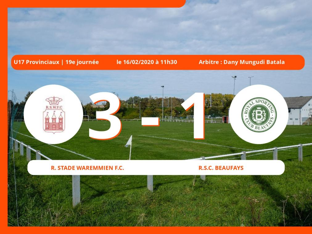U17 Provinciaux (Liège) : succès 3-1 du Royal Stade Waremmien Football Club face au Royal Sporting Club Beaufays