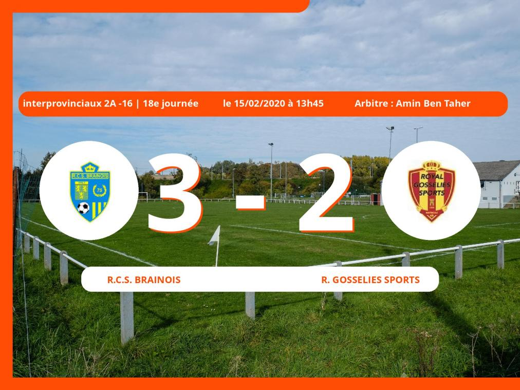 Interprovinciaux 2A -16 (Nationale) : succès 3-2 du Royal Club Sportif Brainois face au Royal Gosselies Sports