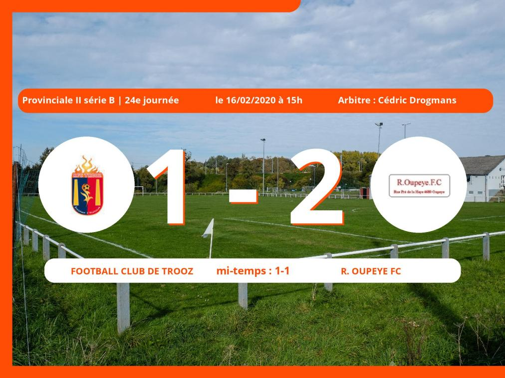 Provinciale II série B (Liège) : succès 1-2 du Royal Oupeye FC face au Football Club de Trooz