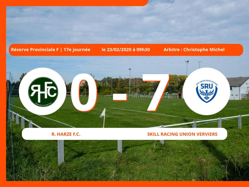 Réserve Provinciale F (Liège) : succès 0-7 de la Skill Racing Union Verviers face au Royal Harzé Football Club