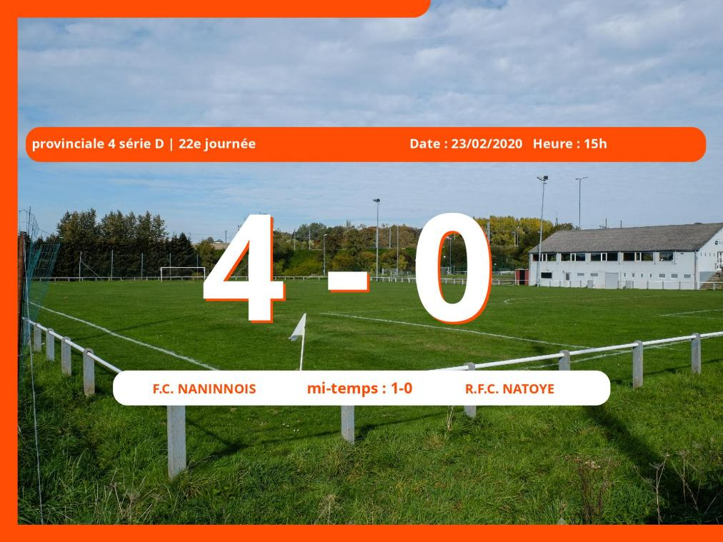 Provinciale 4 série D (Namur) : succès 4-0 du Football Club Naninnois face au Royal Football Club Natoye