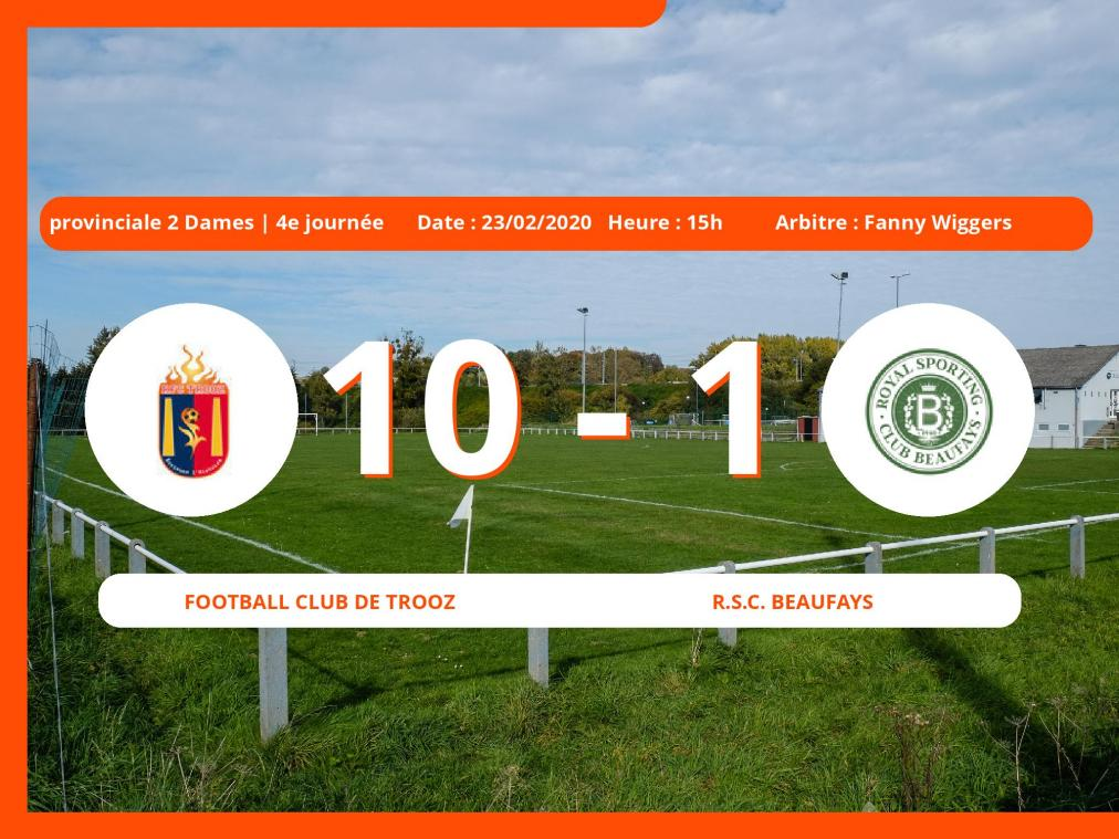 Provinciale 1 Dames (Liege) : succès 10-1 du Football Club de Trooz face au Royal Sporting Club Beaufays