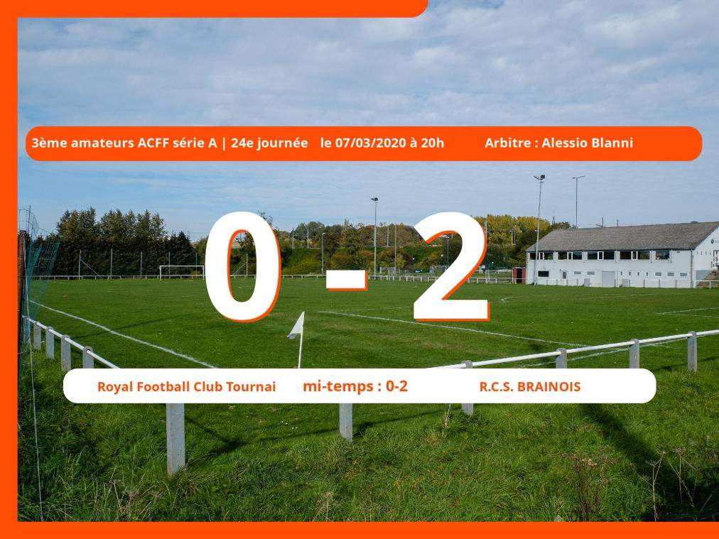 3<sup>ème</sup> amateurs ACFF série A (Nationale) : succès 0-2 du Royal Club Sportif Brainois face au R.F.C. Tournai