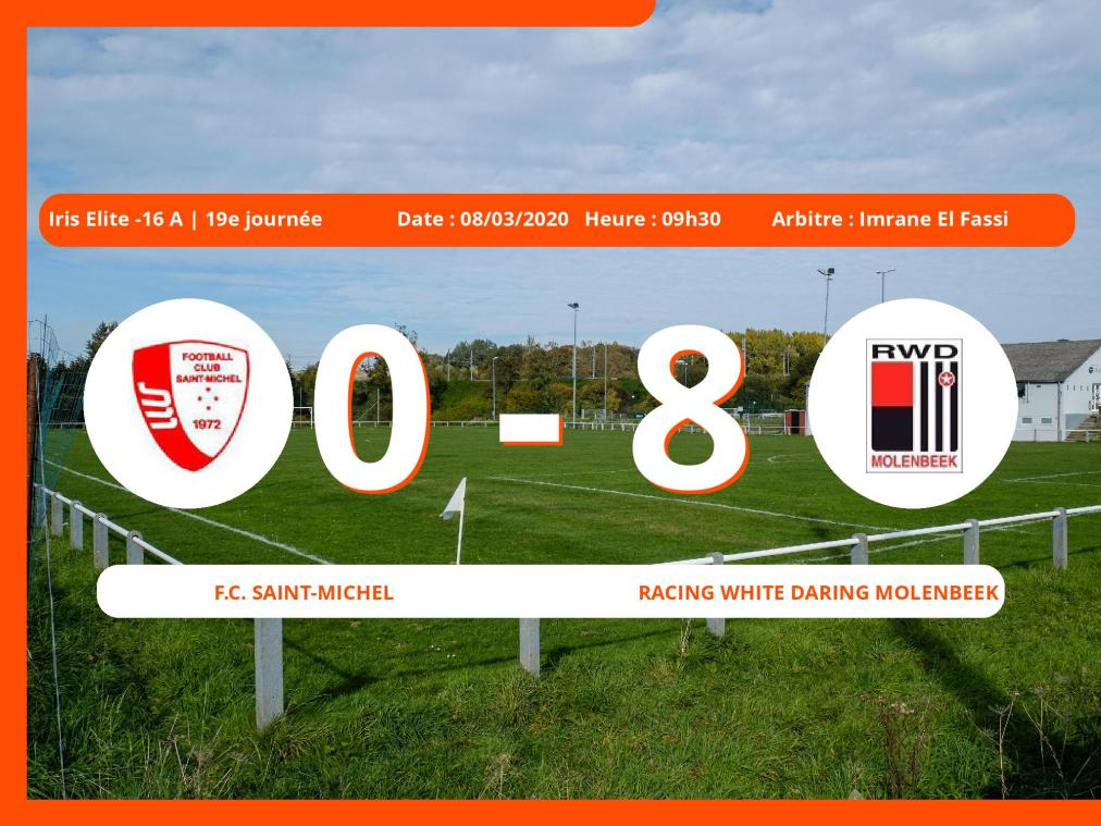 Iris Elite -16 A (Brabant ACFF/Bruxelles) : succès 0-8 du Racing White Daring Molenbeek face au Football Club Saint-Michel