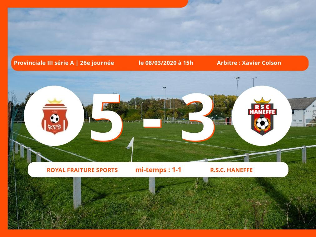 Provinciale III série A (Liège) : succès 5-3 du Royal Fraiture Sports face au Royal Sporting Club Haneffe