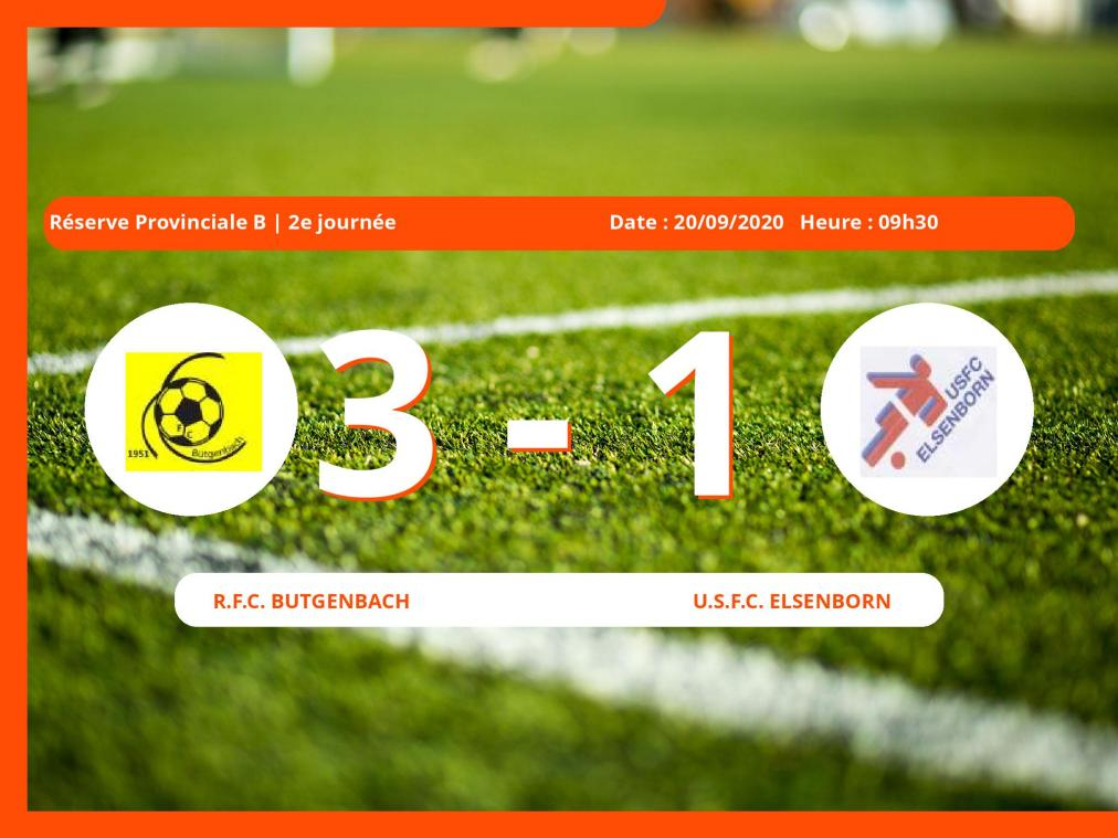Réserve Provinciale B (Liège) : 3-1 pour le Royal Football Club Butgenbach contre l'U.S.Football Club Elsenborn
