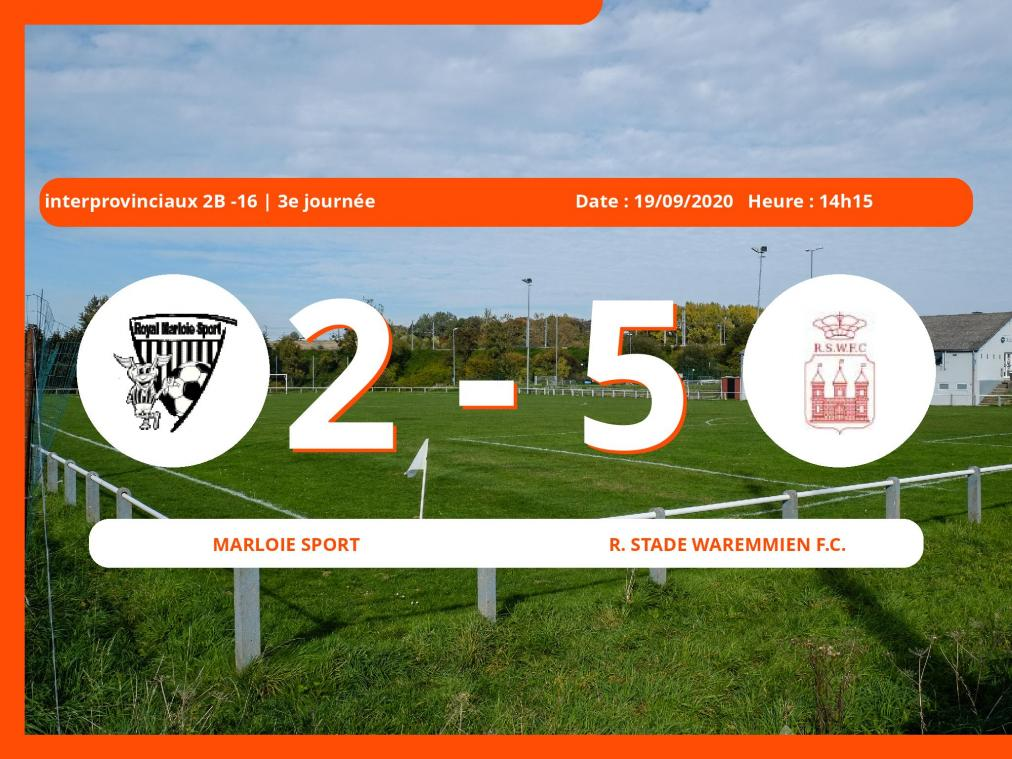 Interprovinciaux 2B -16 (Nationale): succès 2-5 du Royal Stade Waremmien Football Club face au Marloie Sport