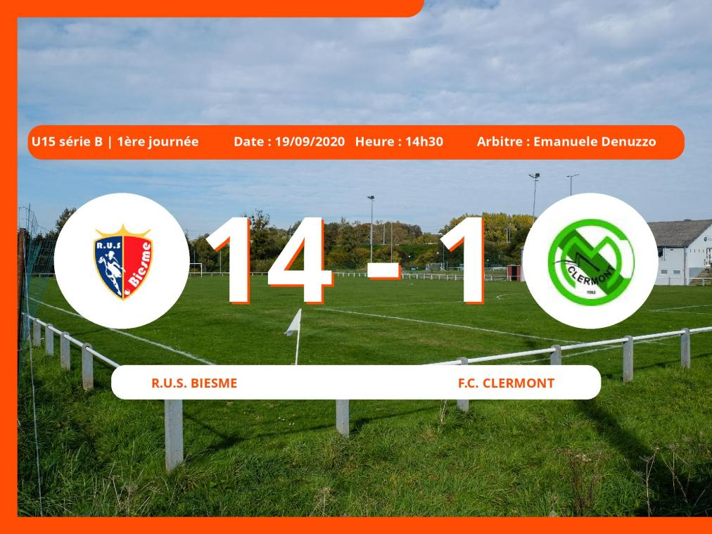 U15 série B (Namur) : la Royale Union Sportive Biesme facile contre le Football Club Clermont, 14-1