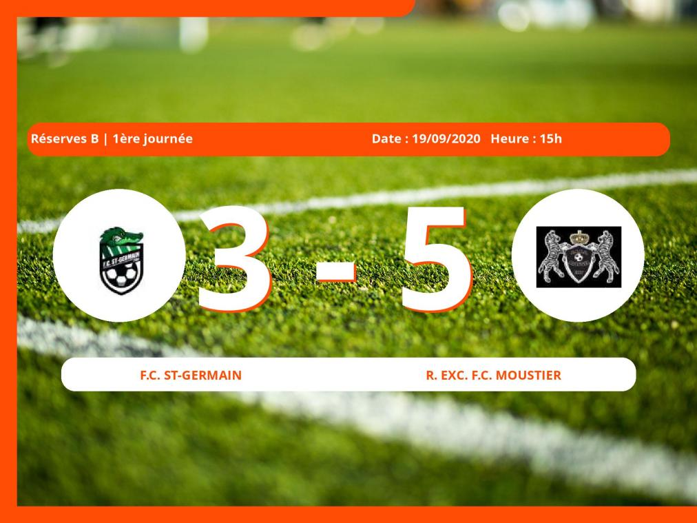 Réserves B (Namur) : 3-5 pour le Royal Exc. Football Club Moustier contre le Football Club St-Germain