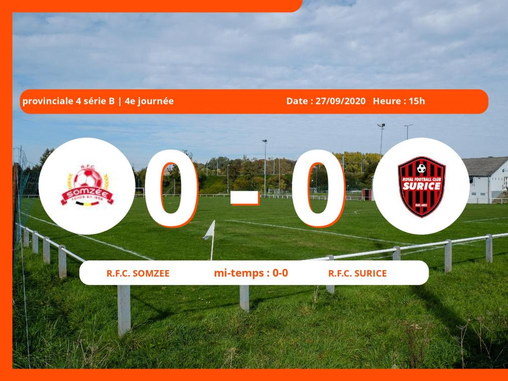Provinciale 4 série B (Namur) : égalité 0-0 entre le Royal Football Club Somzee et le Royal Football Club Surice