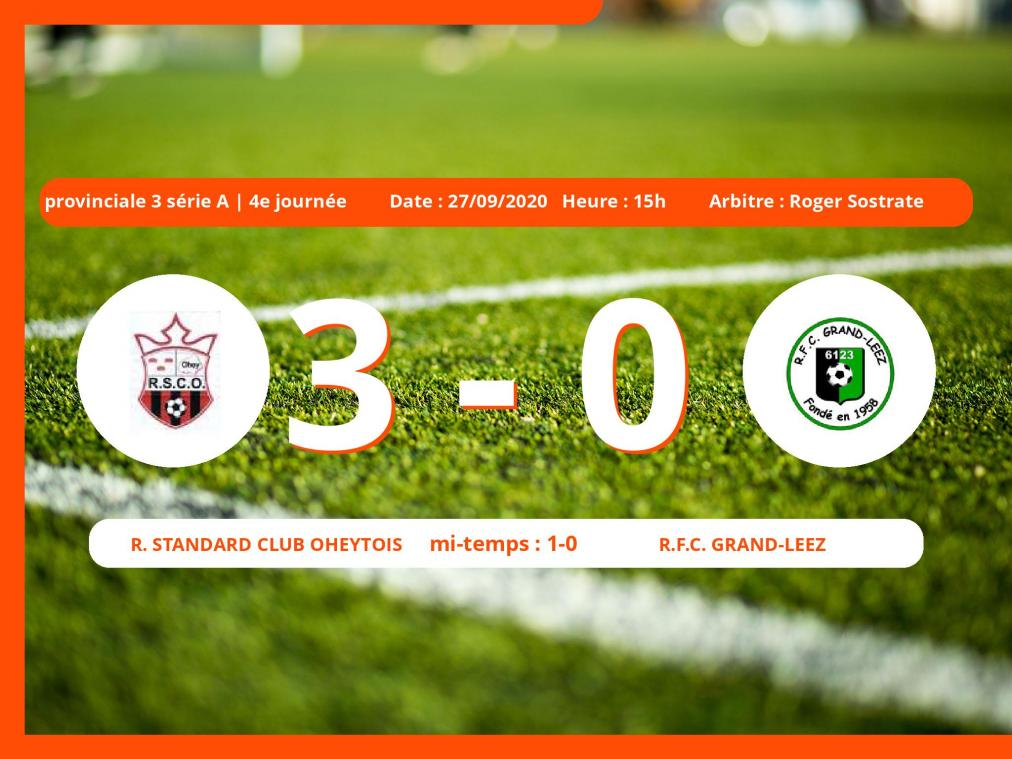 Le Royal Football Club Grand-Leez s'incline devant le Royal Standard Club Oheytois en Provinciale 3 série A (Namur) : 3-0