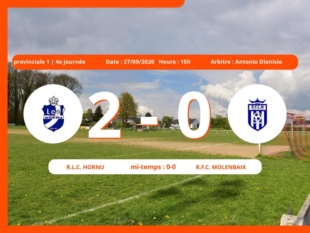 Le Royal Football Club Molenbaix s'incline devant le R.L.C. Hornu en Provinciale 1 (Hainaut) : 2-0